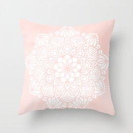 Mandala Mermaid Sea Pink by Nature Magick Throw Pillow
