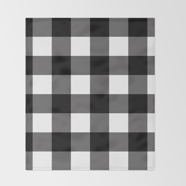 Black And White Plaid Blanket.Black White Buffalo Plaid Throw Blanket