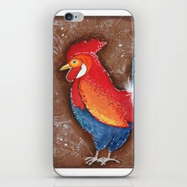 Colorful Rooster on Brown Background iPhone Skin