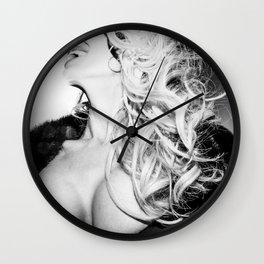 0558 Sexy Fashionista Blonde - Black and White Las Vegas Fashion Editorial Art Wall Clock