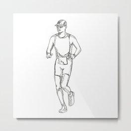 Marathon Running Doodle Art Metal Print