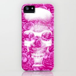 No Bed of Roses II / Halftone skull and rose design iPhone Case