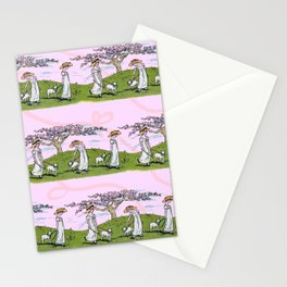 THE GIRL AND A LITTLE LAMB pink Stationery Cards
