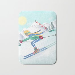 Skiing Girl Bath Mat