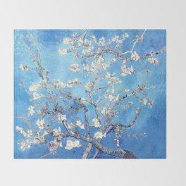 Vincent Van Gogh Almond Blossoms. Sky Blue Throw Blanket