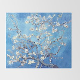 Vincent Van Gogh Almond Blossoms. Sky Blue Throw Blanket