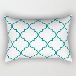 Quatrefoil - Teal on White - larger Rectangular Pillow