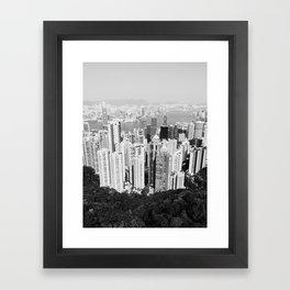 Hong Kong Cityscape // Sky Scraper Skyline Landscape Photography Black and White Buildings Framed Art Print