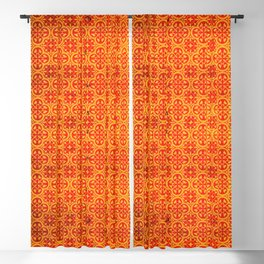 N67 - Yellow & Red Vintage Antique Geometric Traditional Moroccan Style. Blackout Curtain