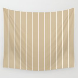 Minimalist Pin Stripes in White on Caramel Tan Wall Tapestry
