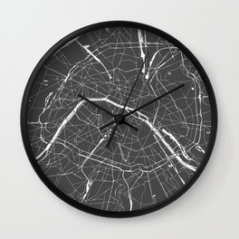 Paris France Minimal Street Map - Grey on White Wall Clock