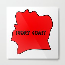 Ivory Coast Red Silhouette Metal Print