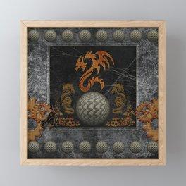 Awesome tribal dragon made of metal Framed Mini Art Print