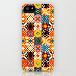 Maroccan tiles pattern with red an blue no2 iPhone Case