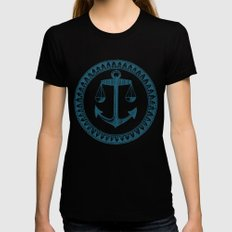 Anchor & Scales Womens Fitted Tee LARGE Black