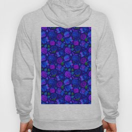 Watercolor Floral Garden in Electric Blue Bonnet Hoody