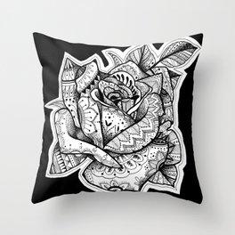 Henna Rose Tattoo Throw Pillow
