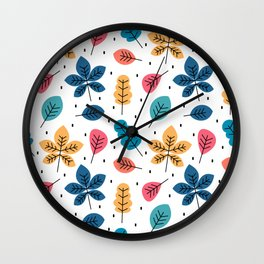 cute colorful autumn fall pattern background with leaves Wall Clock