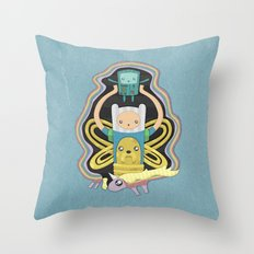 Time for Adventure with Finn, Jake, BMO, and Lady Rainicorn Throw Pillow