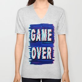 Game Over Glitch Text Distorted Unisex V-Neck