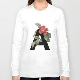 Floral Alphabet Prints: Letter A Long Sleeve T-shirt