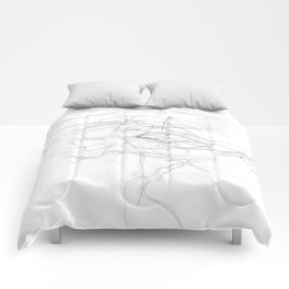 """""""Whatever, Oh Well"""" Black and White Abstract Design Comforters"""