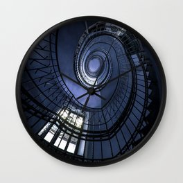 Blue spiral staircase Wall Clock