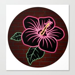 Neon Red Hibiscus Flower Canvas Print