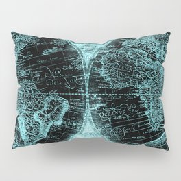Antique World Map Turquoise Teal Blue Green Pillow Sham