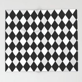 Harlequin Black and White and Gray Throw Blanket