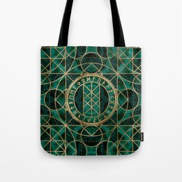 Web of Wyrd The Matrix of Fate - Gold and Malachite Tote Bag