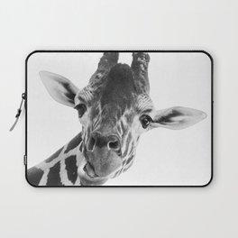 Silly Giraffe B&W // Wild Animal Portrait Cute Zoo Safari Madagascar Wildlife Nursery Ideas Decor Laptop Sleeve