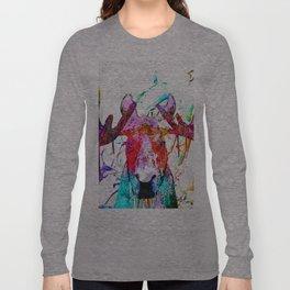 Moose Watercolor Grunge Long Sleeve T-shirt