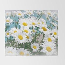 Daisies flowers in painting style 2 Throw Blanket