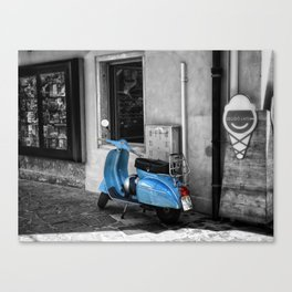 Blue Vespa in Venice Black and White Color Splash Photography Canvas Print