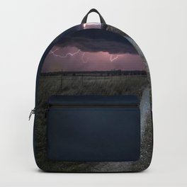 Darkness Falls - Lightning Strikes Down a Country Road at Night Backpack