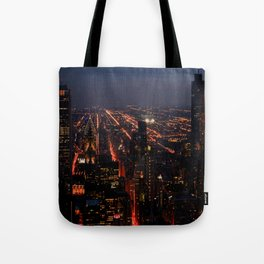 Chicago Night Lights/Hancock Tower View #1 (Chicago Architecture Collection) Tote Bag