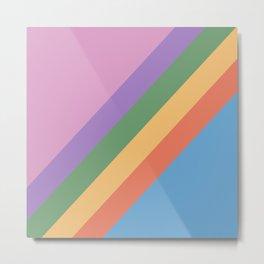 Retro Rainbow Stripes 105 Metal Print