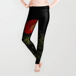 Paeonia Tenuifolia Mary Delany Vintage British Floral Flower Paper Collage Black Background Leggings