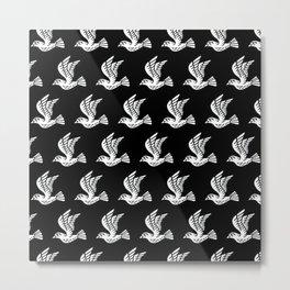Flying Birds Pattern Black/White Metal Print