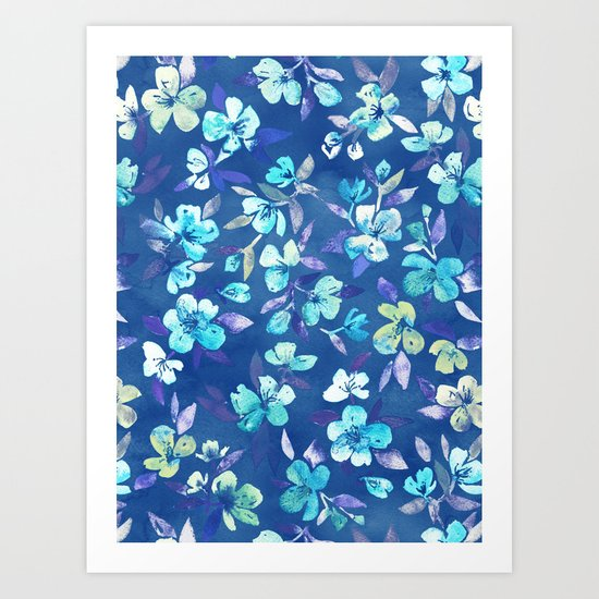 Grown Up Betty - blue watercolor floral Art Print