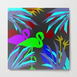 Flamingo jungle negative Metal Print