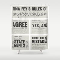 tina crespo Shower Curtains featuring Tina Fey's Rules of Improvisation by lidia