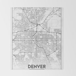 Minimal City Maps - Map Of Denver, Colorado, United States Throw Blanket