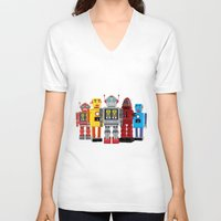 robots V-neck T-shirts featuring robots by notbook
