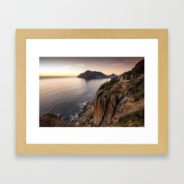 Sunset view from Chapman's Peak drive in Cape Town, South Africa Framed Art Print