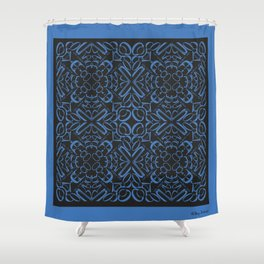 Courage of her Conviction Tiled - Blue Black Shower Curtain