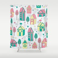 home sweet home Shower Curtains featuring Home by One April