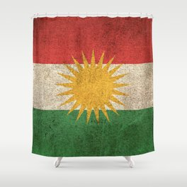 Old and Worn Distressed Vintage Flag of Kurdistan Shower Curtain