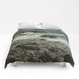 Waves Crashing against the Shore in Acadia National Park Maine Comforters